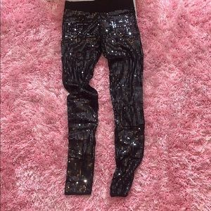 Black Sequin Bebe leggings size large